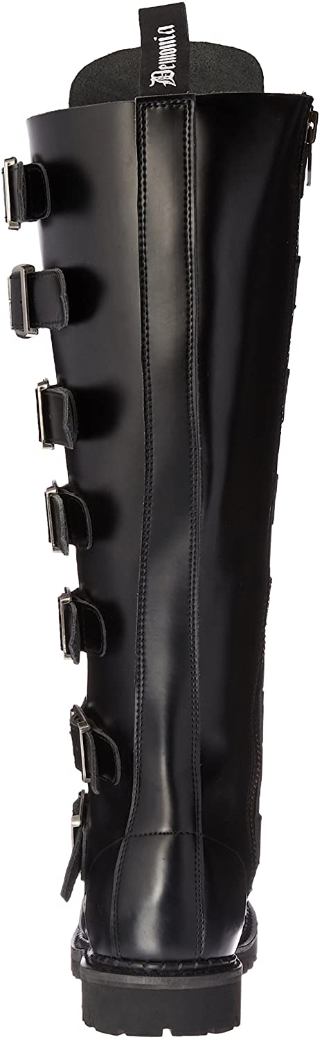Reaper-30 Real Leather 30 Eyelet Knee High Silver Buckle Boot