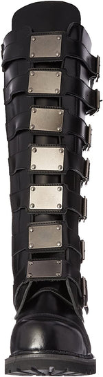 Load image into Gallery viewer, Reaper-30 Real Leather 30 Eyelet Knee High Silver Buckle Boot