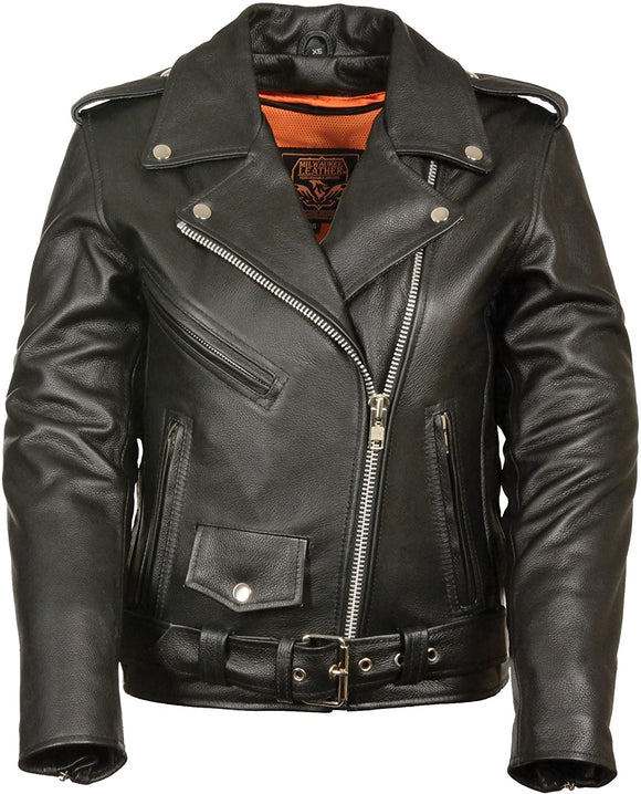 Full Length Traditional Leather Police Moto Jacket