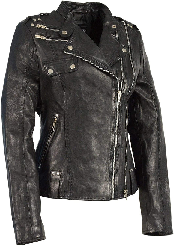Asymmetrical Soft Leather Riding Jacket