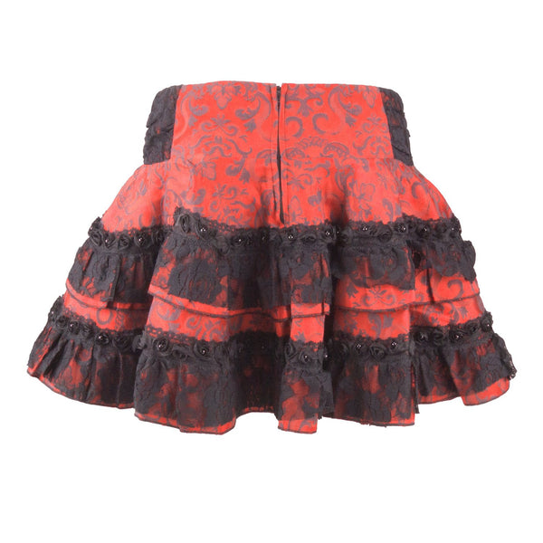 Red Jacquard Mini Skirt (Jawbreaker)