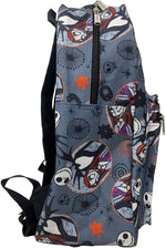 Load image into Gallery viewer, Nightmare Before Christmas Sally & Jack Gray Allover Print 16IN Backpack Grey