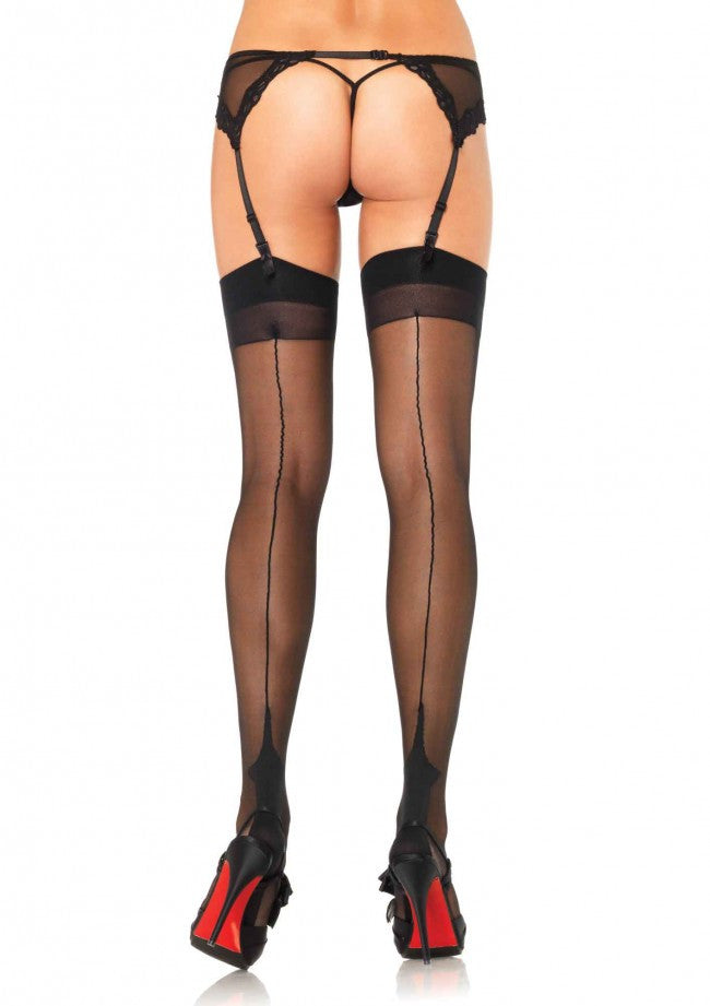 BLACK Lycra Cuban Heel Thigh High Stockings (Leg Avenue)