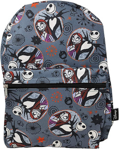 Nightmare Before Christmas Sally & Jack Gray Allover Print 16IN Backpack Grey
