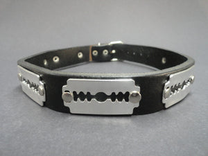 Razor Blade Studs Real Leather Collar