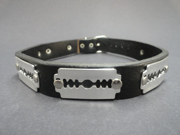 Real Leather Choker with 6 Razor Blade Studs (Solstice)