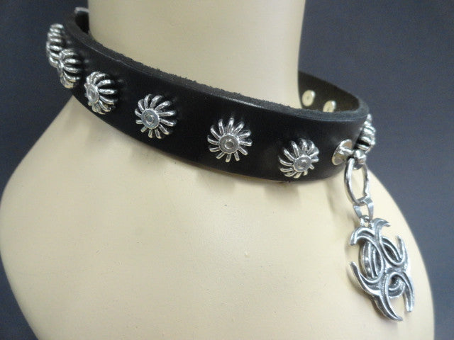Real Leather Collar with Pewter Biohazard Pendant