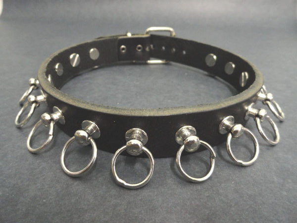 Real Leather Choker with 15 Hoops Studs (Solstice)