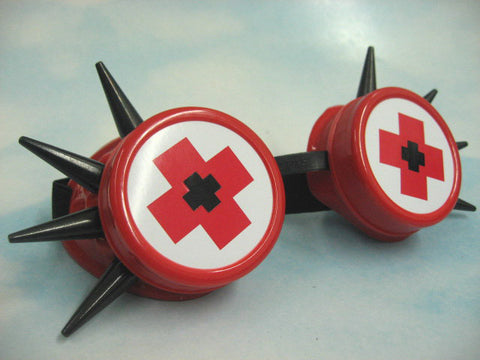 Red Goggles with Medical Detail and Black Spikes (Solstice)