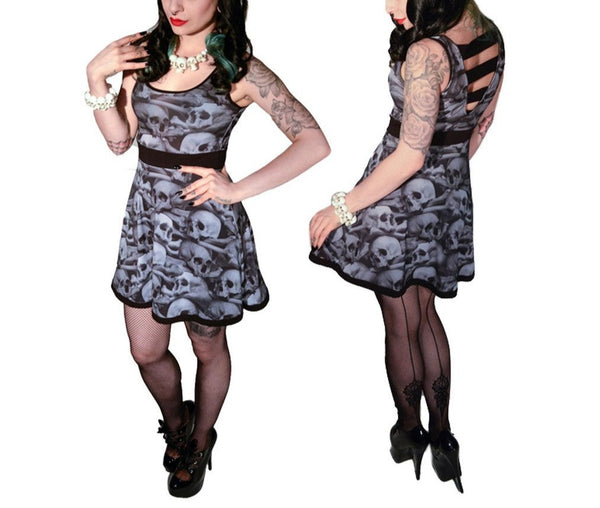 Skull Pile Penny Dress Black N White (Kreepsville 666)