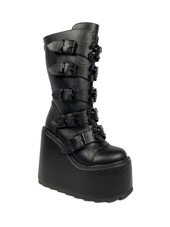Dune Skull Blackout Platform Boot