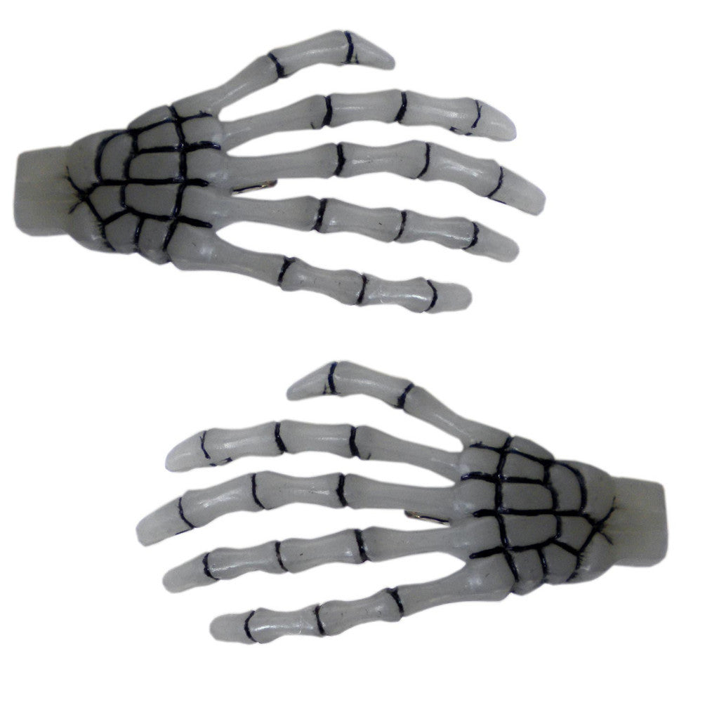Skeleton Bone Hands Hairslides Glow in the Dark