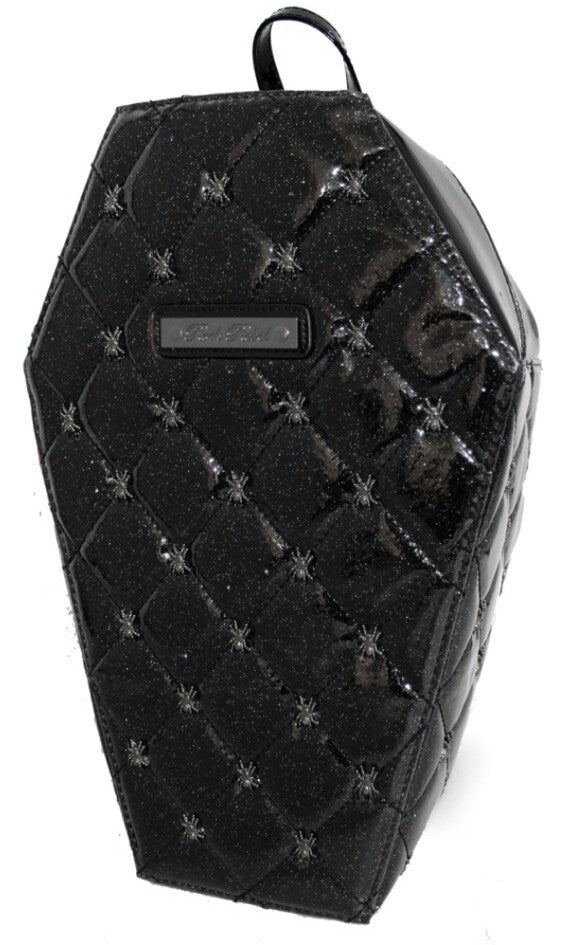 Lucy Quilted Glitter Spider Coffin Shaped Backpack