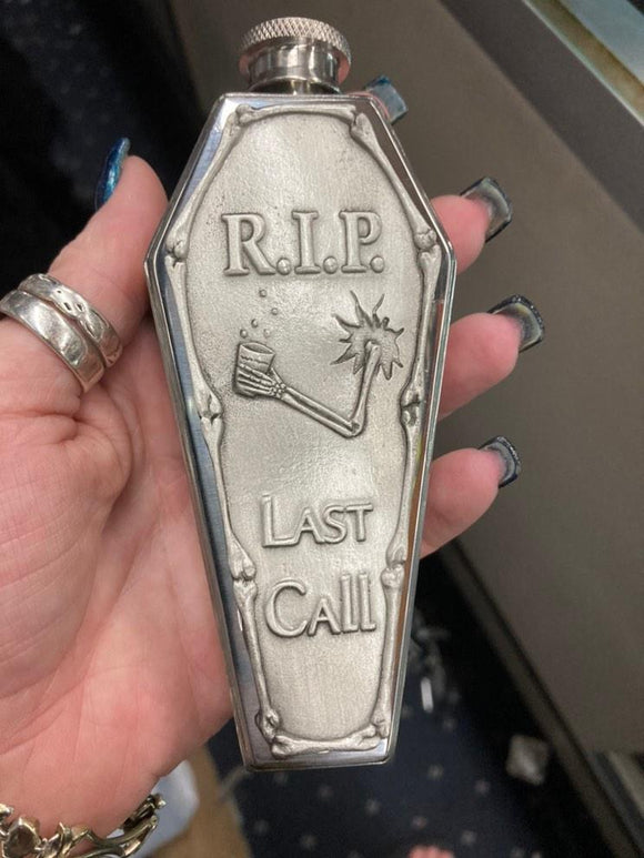 Coffin Shaped Last Call Flask