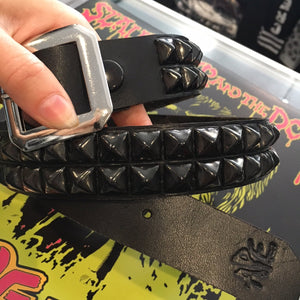 2 Row Black Pyramid Studded Real Leather Belt