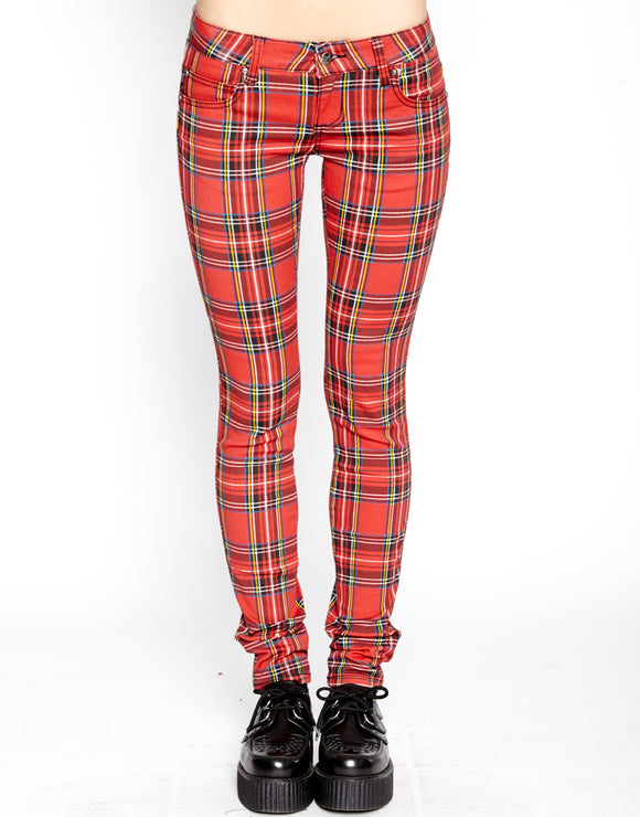 Red Plaid T-Back Jean