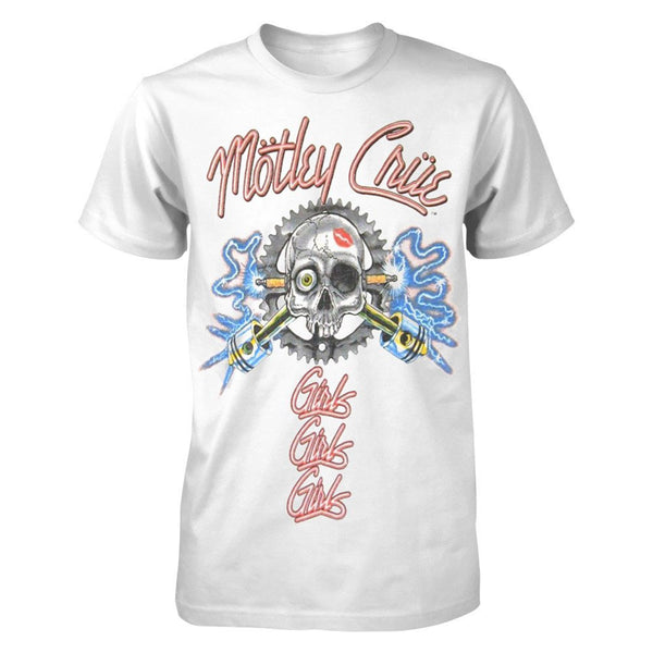 Motley Crue Vintage Sparkplug Men's Soft Tee in White