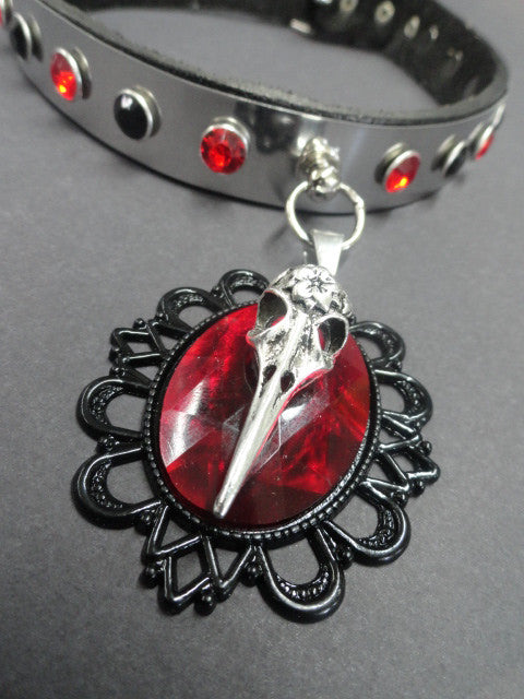 Stainless Steel Real Leather Collar with Ruby Red Stone & Raven Skull Head