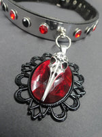 Load image into Gallery viewer, Stainless Steel Real Leather Collar with Ruby Red Stone & Raven Skull Head