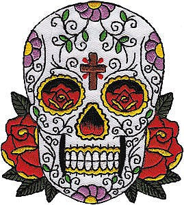 Candy Sugar Skull with Cross Patch