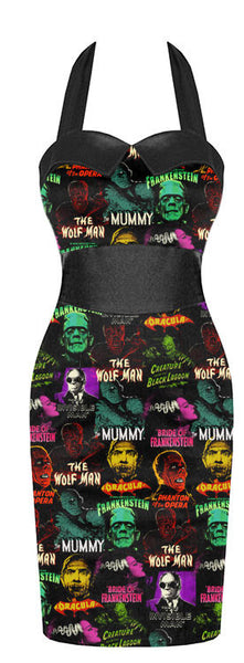 Rock Rebel Universal Monsters Pin Up Pencil Dress