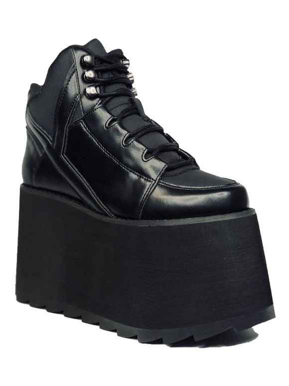 Qozmo 2 Black Vegan Leather Platform Shoe