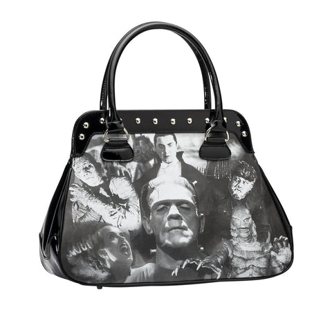 Universal Monsters Collage Handbag in Black (Rock Rebel)