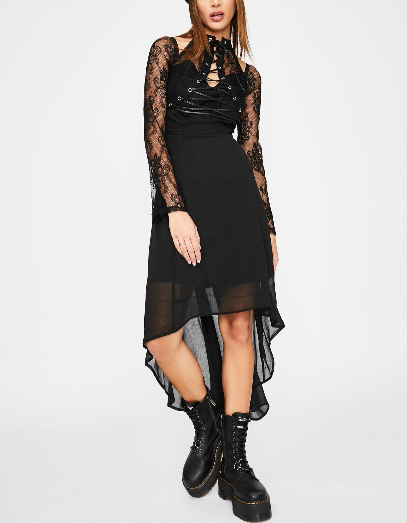 Night-Vision Lace-Up Dress
