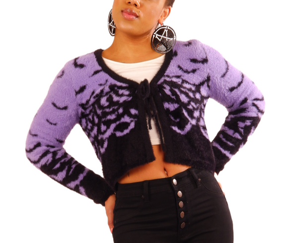 Fly Me Bats Mohair Purple Cardigan