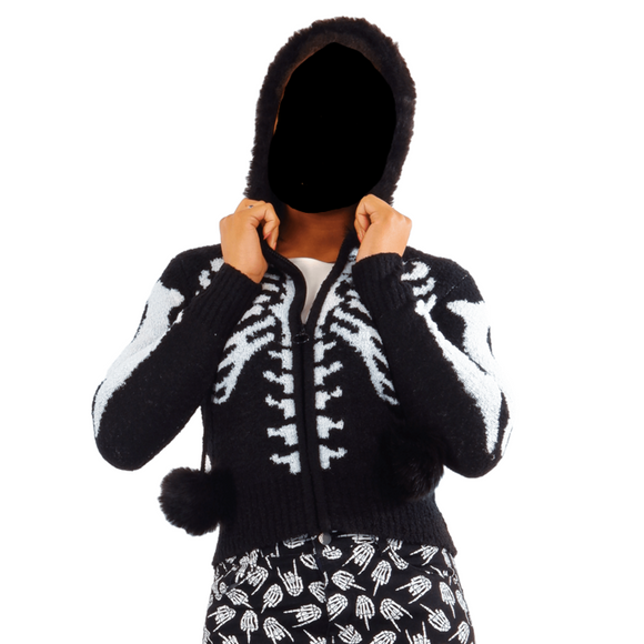 Skeleton Ribcage Fuzzy Zip Up Cardigan Hoodie