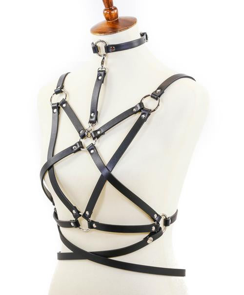 8 Strap Pentagram Harness with attached choker and belt
