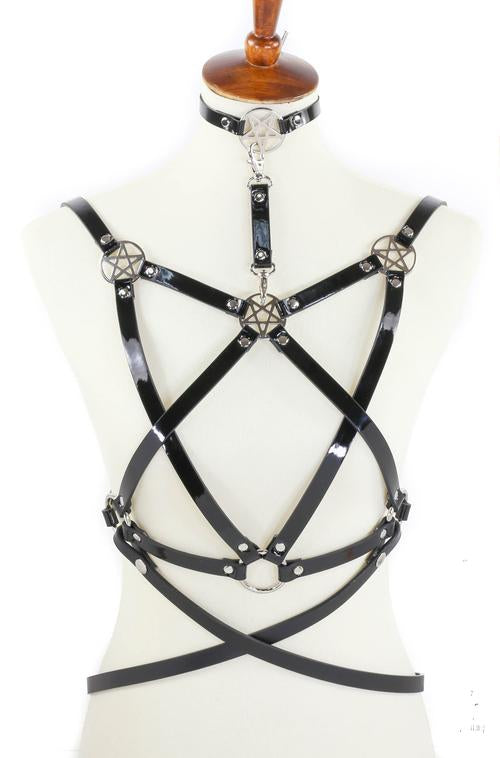 8 Strap Inverted Pentagram Harness with attached choker and belt