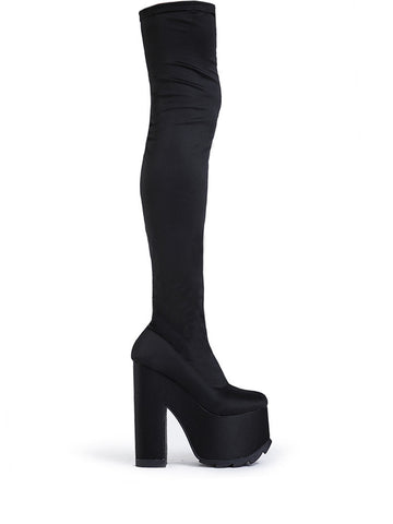 Labyrinth Nylon Spandex Thigh High Boot