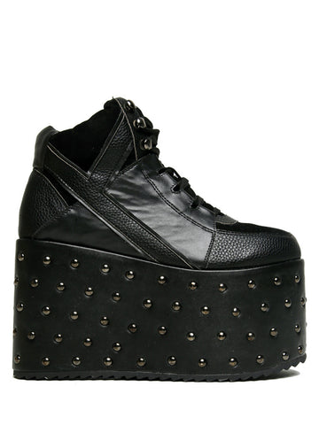 Qozmo Studded Black Vegan Leather Platform Shoe/Sneaker (YRU Footwear)