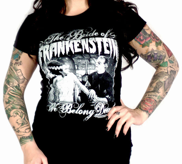 We Belong Dead Bride of Frankenstein Women's Tee (Rock Rebel)
