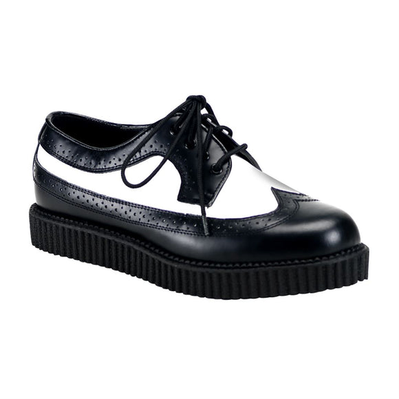 Creeper-608 Black/White Tuxedo Real Leather 1