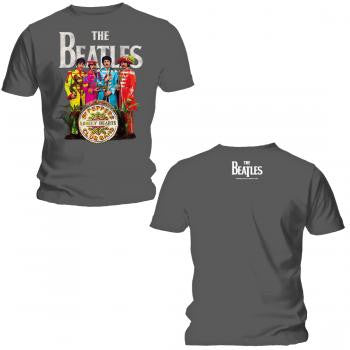 "Beatles ""Sgt. Pepper"" Men's SOFT Tee w/ Back Print (GRAY)"