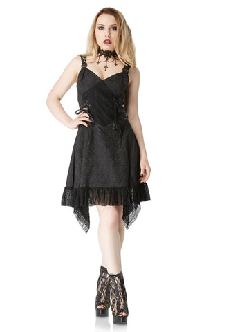 Deadly Damsel Gothic Brocade Dress