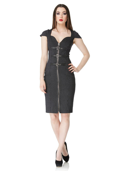 Pin Striped Buckle Pencil Dress (Jawbreaker)