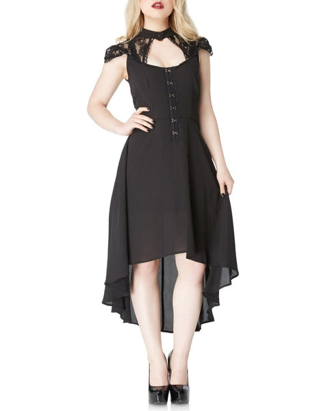 Skull Lace & Chiffon Hi Lo Dress (Jawbreaker)