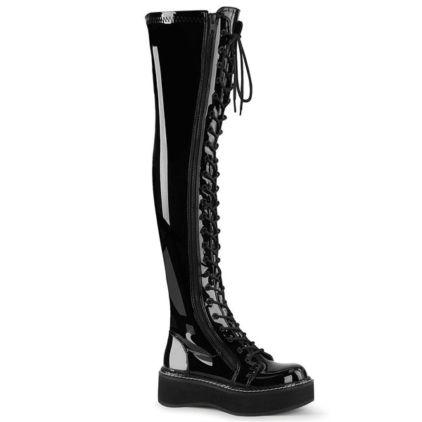"Emily-375 Black Vinyl 2"" Thigh High Lace Up Boot"