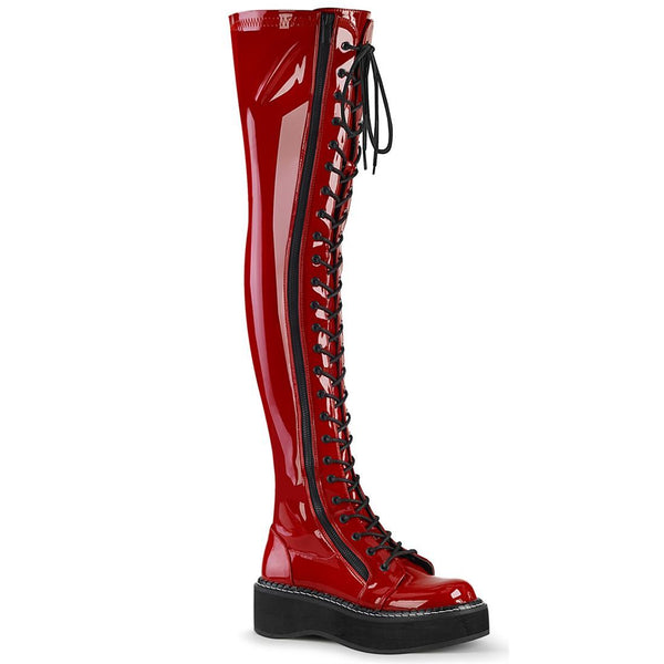 "Emily-375 Red Vinyl 2"" Thigh High Lace Up Boot"