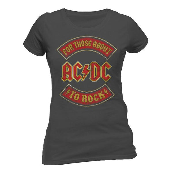 "ACDC ""For Those About to Rock"" Women's GRAY Tee (FEA / Live Nation)"