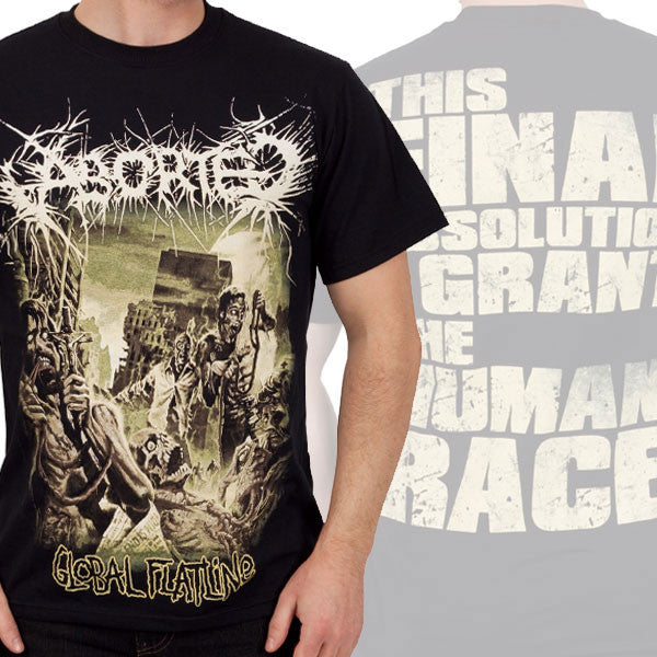 "Aborted ""Global Flatline"" Men's Tee w/ Back Print (IndieMerch)"