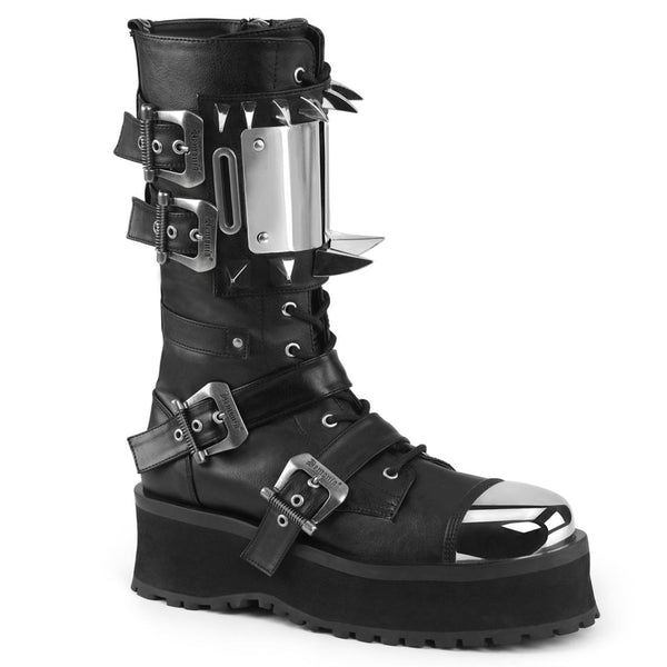 "Gravedigger-250 Vegan Leather 3/4"" Platform Metal Toe Mid-Calf Boot"