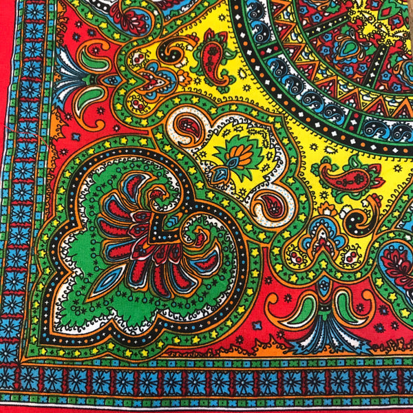 Red based multi colored paisley bandanna