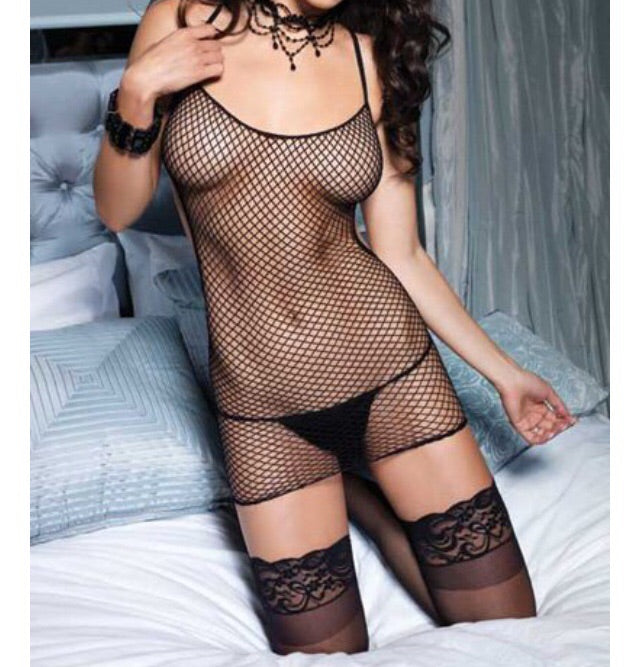 Back laced fishnet dress