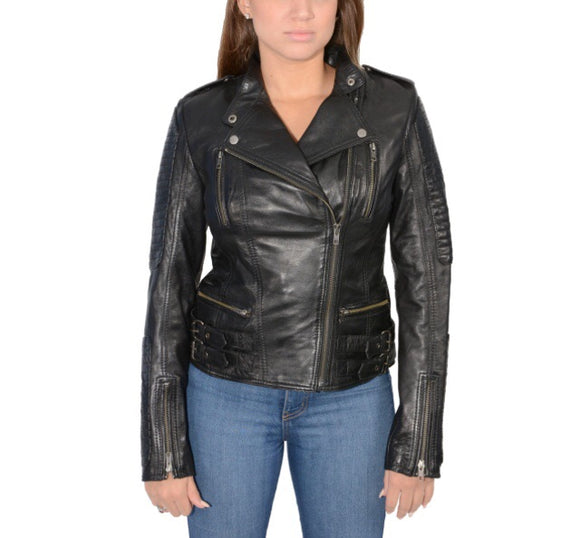Quilted Black Lambskin Leather Moto Jacket