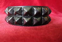 Black 2 row pyramid studded bracelet