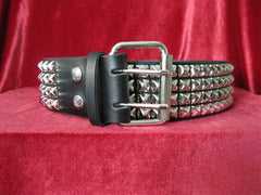 Black Leather Belt with 4 Rows Nickel Plated Pyramid Studs